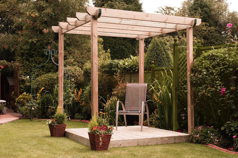 Single Pergola, Single Deck 258h x 240w x 240d cm Green   86348