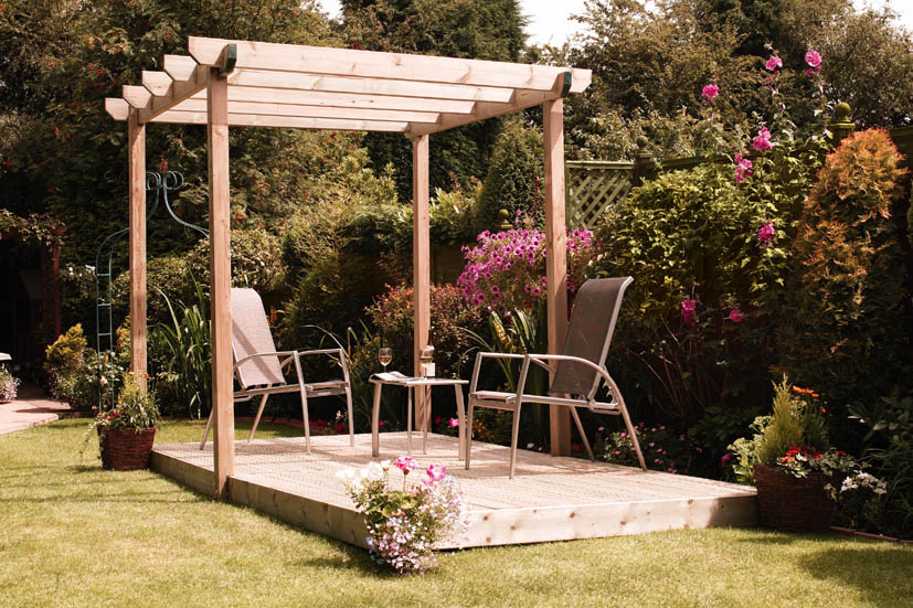Single Pergola, Double Deck 258h x 440w x 240d cm Green   86349