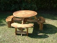 6 No Round heavy duty picnic tables